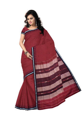 Buti Design Maroon with Black Ikat Handloom Siminoi cotton saree odisha Dhenkanal AJODI000115