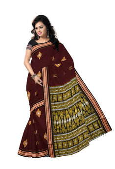 Bomkai design cotton saree with Maroon body from Sonepur along with Blouse piece