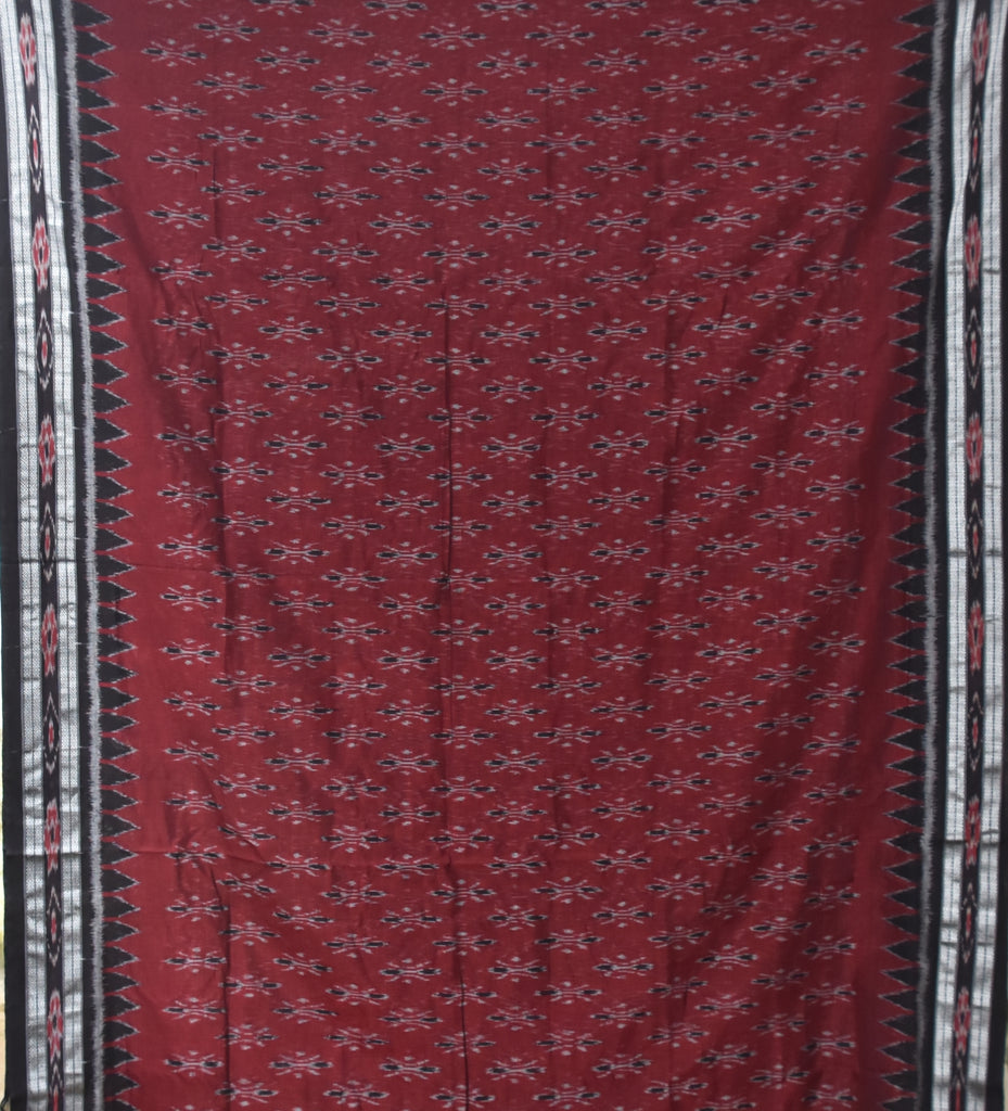 Special Design Maroon Ikat Handloom Cotton Saree of Odisha Sambalpur AJODI000190