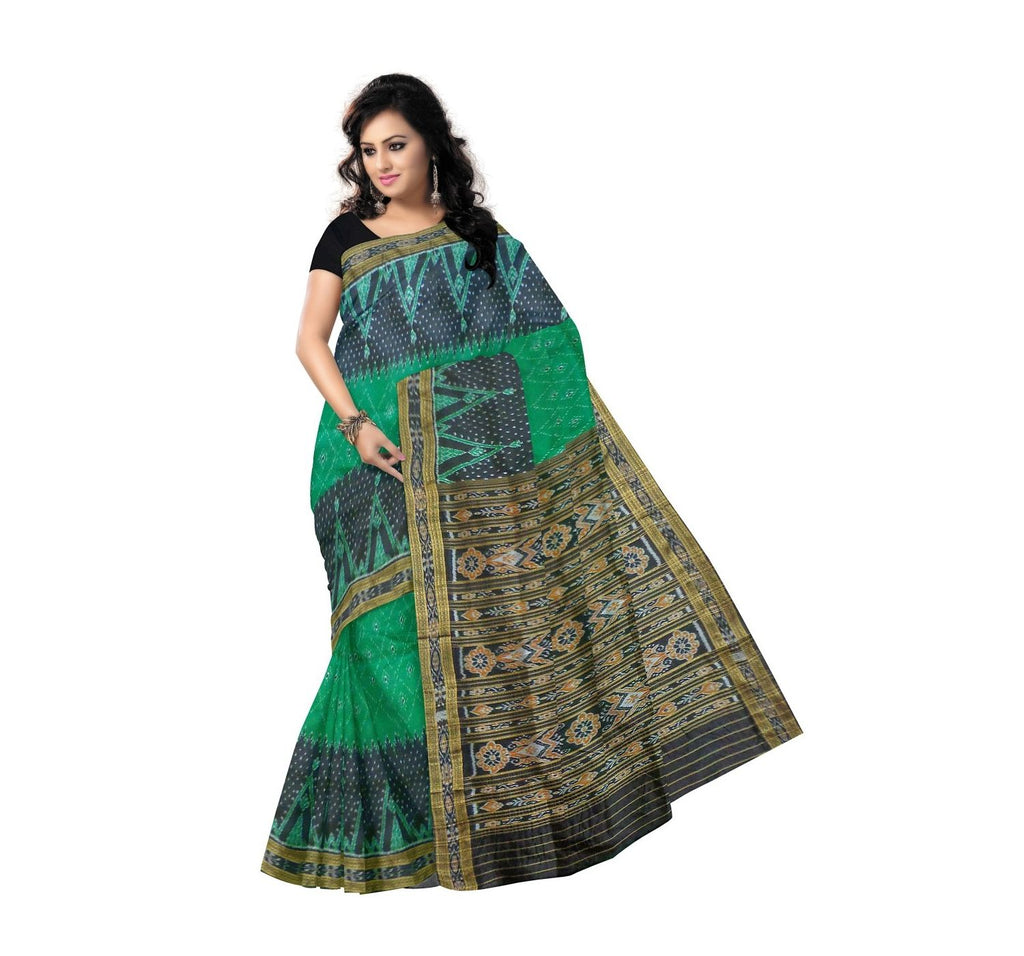 Nuapatna Silk Saree with temple designed green body and black border and Pallu