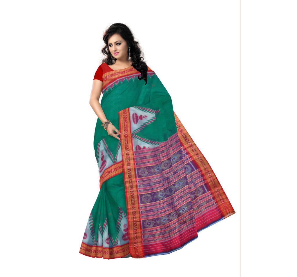 Nuapatna Silk Saree with Green body and Red border and Pallu
