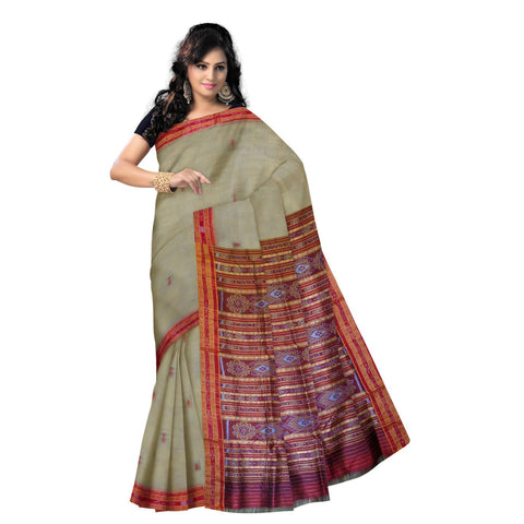 Sambalpuri Design Deep Tusser with Maroon Handloom Silk Saree of Odisha Sambalpur AJODI000234