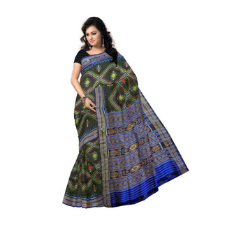 sambalpuri Silk saree with black body and Ink blue border