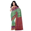 Alpana Design Light Green with Maroon Sambalpuri Ikat Handloom Cotton Saree of Odisha AJODI000271