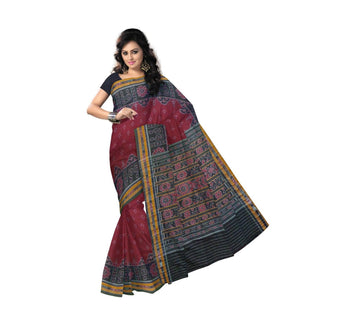 Maroon color Sambalpuri Handloom cotton saree with buti designed body and black border