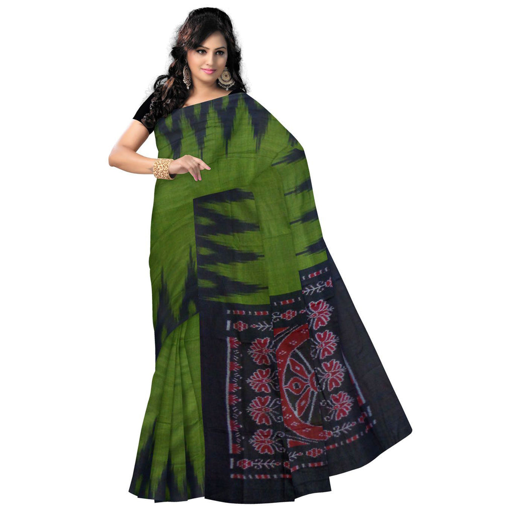 Temple Design Olive Green with Black Ikat Handloom cotton saree odisha Nuapatna AJODI000295