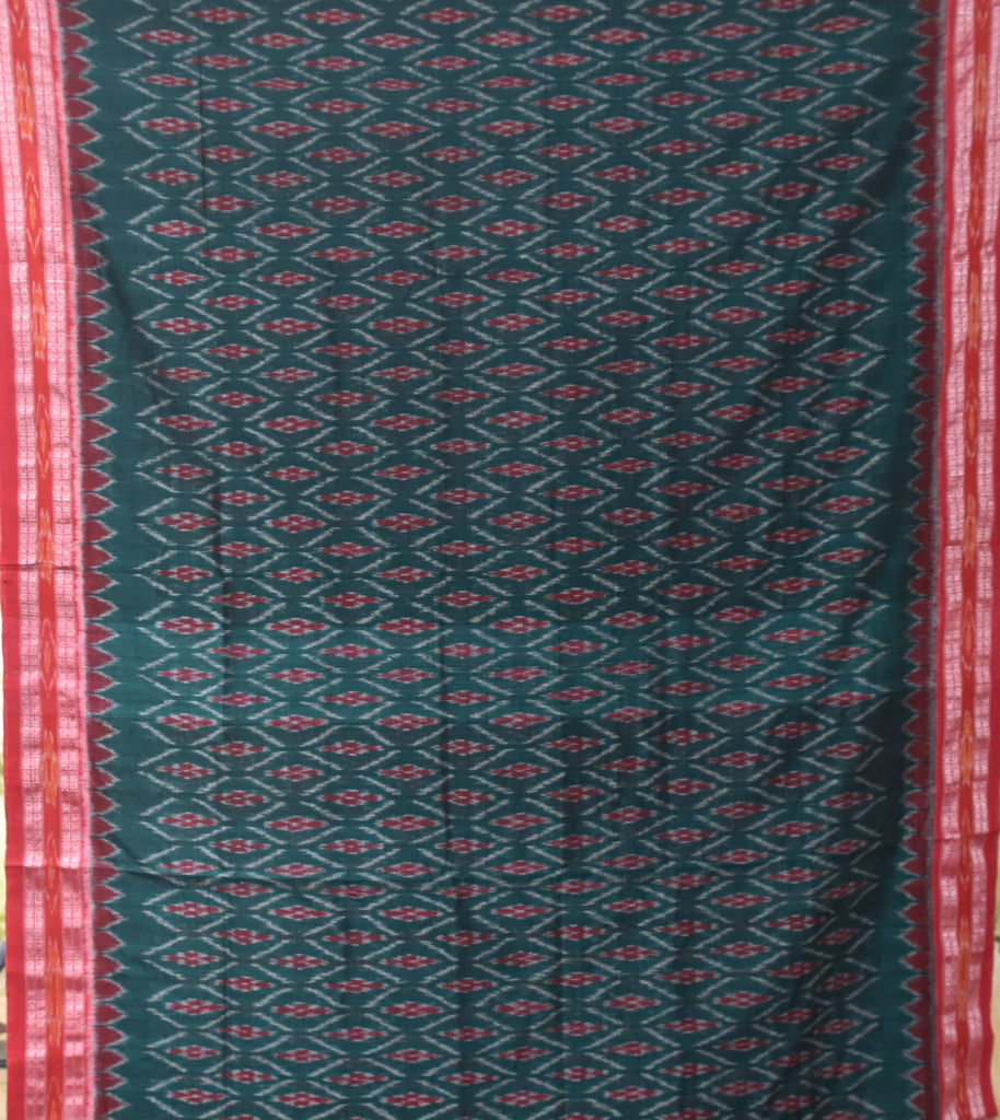 Special Design Deep Green Ikat Handloom Cotton Saree of Odisha Sambalpur AJODI000319
