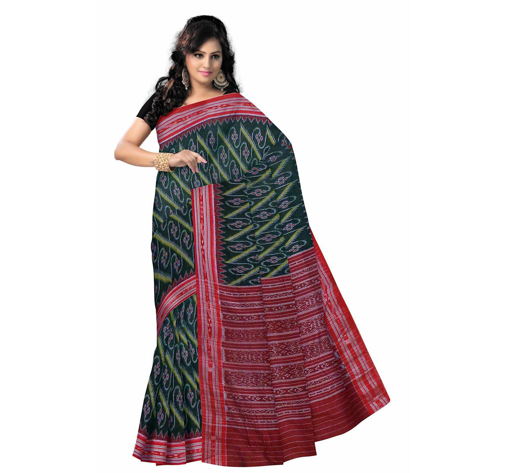 Temple Design Green Ikat Handloom Cotton Saree of Odisha Sambalpur AJODI000342