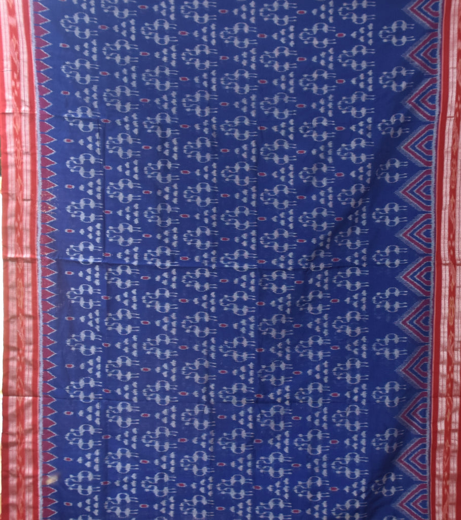 Special Alpana Design Navy Blue with Maroon Ikat Handloom Cotton Saree of Odisha Sambalpur AJODI000369