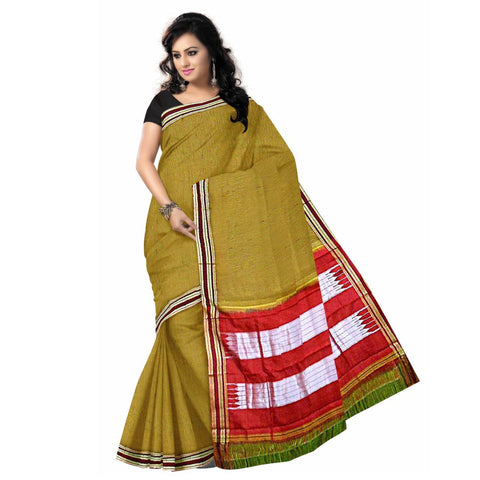 Check Design Green with Maroon Ilkal Handloom Cotton Silk saree of Karnataka AJODI000387