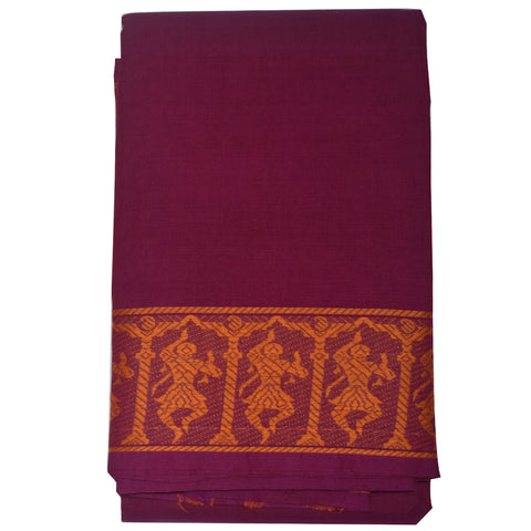 Plain Design Violet with Golden Handloom Kanchi cotton saree for Bharatnatyam Dance specially for children of South India AJODI000389