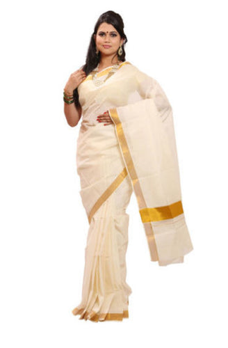 Plain Design Offwhite with Golden Handloom Kasavu cotton saree of Kerala AJODI000397