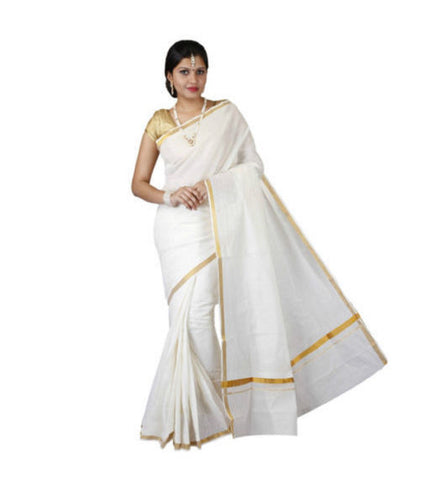 Plain Design Offwhite with Golden Handloom Kasavu Cotton saree of Kerala AJODI000406