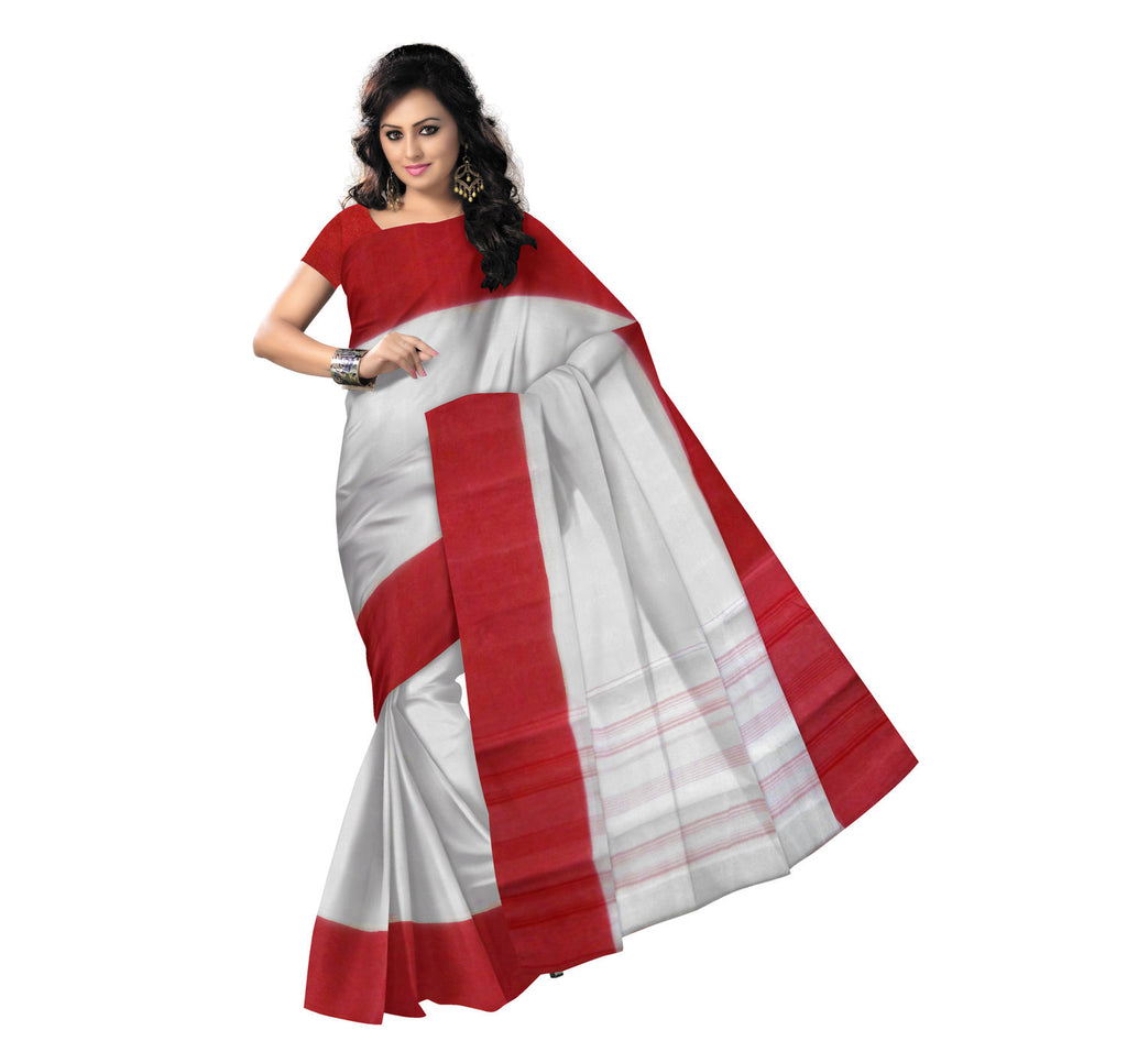 Plain Design White with Red Handloom Cotton Saree of Bengal  AJODI000417