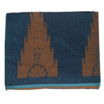 Temple Design Sky Blue with Orange Handloom Silk Saree of West Bengal  AJODI000429