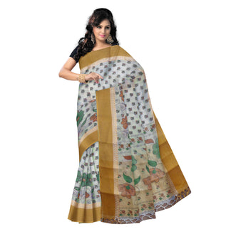 Block Print Design Off White with Multicolor Handloom Cotton Saree of West Bengal AJODI000430