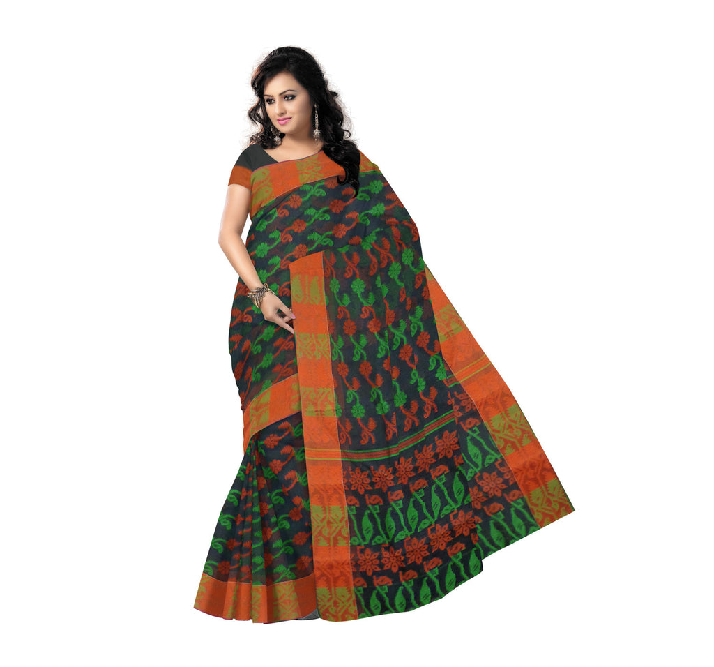 Exclusive Design Black with Multicolor Dhakai Jamdani Handloom Cotton Saree of West Bengal  AJODI000437