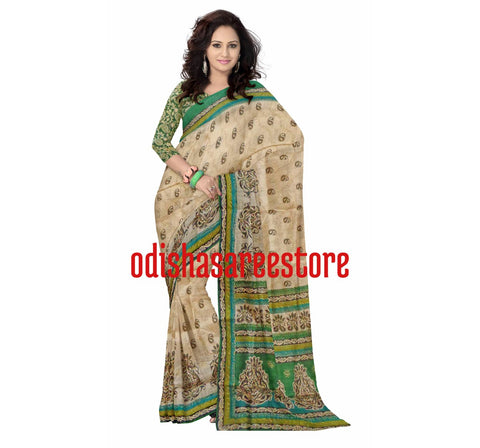 Brasso Design Tusser with Green Handloom Cotton Saree of West Bengal  AJODI000439