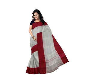 Plain White with Red border Handloom Cotton saree of West bengal AJODI000453
