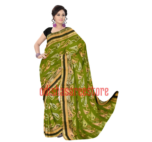 Flower Design Green with Navy Blue Dhakai Jamdani Handloom cotton saree of Bengal AJODI000455