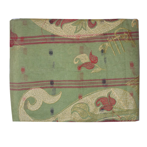 Pakhi Pakhi Design Light Green Handloom cotton saree of West Bengal AJODI000467