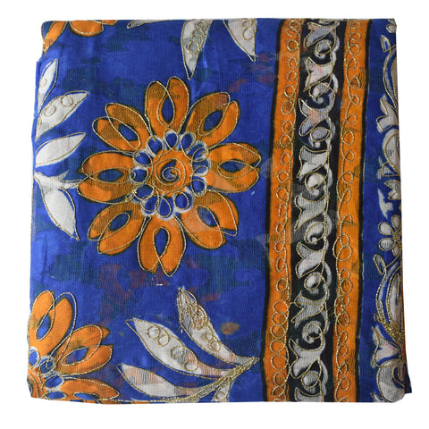 Flower Design Multicolor Handloom Brasso Cotton Saree of West Bengal AJODI000471