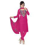 Deep Pink Embroidered Handloom Cotton Dress Material of Jammu & Kashmir AJODI000474