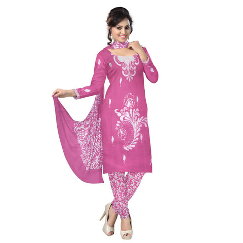 Soft Pink with White Batik Printed Handloom Cotton Dress Material of West Bengal AJODI000477
