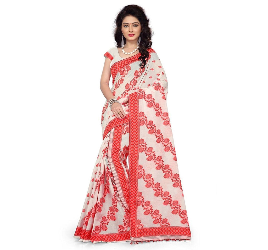 Flower Design Orange with White Handloom Mekhla Chador Saree of Assam  AJODI000482