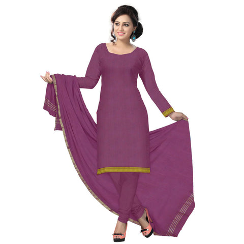 Maroon Golden Plain Handloom Cotton Dress Material of Telengana  AJODI000489