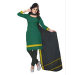 Green with Black Mangalgiri Handloom Cotton Dress Material of Telengana  AJODI000500