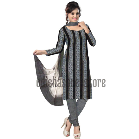 Light Grey with Black Handloom Dress Material of Nuapatna  AJODI000515