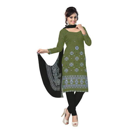 Deep Olive Green with Black Bomkai Handloom Cotton Dress Material of Nuapatna  AJODI000526