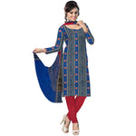 Deep Sea Blue with Red Pasapalli Handloom Cotton Dress Material of Sambalpur  AJODI000535