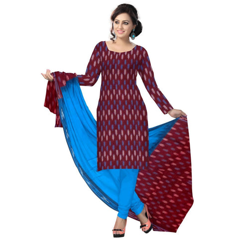 Maroon with Blue Special Handloom Cotton Dress Material of Sambalpur  AJODI000539