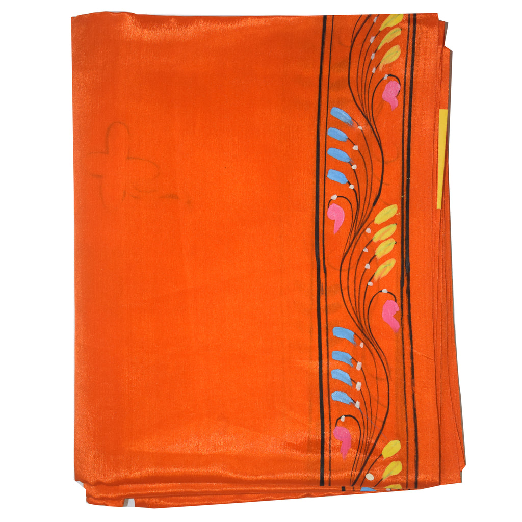Orange Handpainted Patachitra Synthetic Silk Saree Made in Odisha Raghurajpur AJODI000562