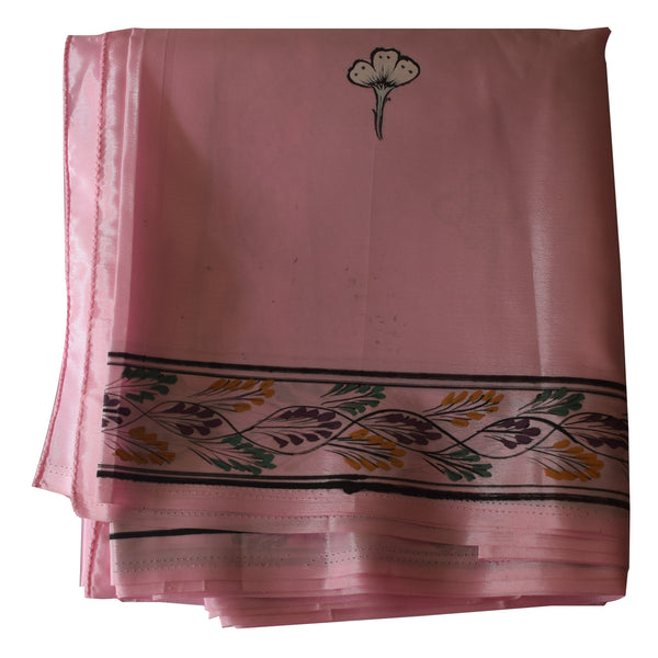 Light Pink Handpainted Patachitra Synthetic Silk Saree Made in Odisha Raghurajpur AJODI000570