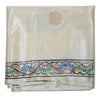 White Handpainted Patachitra Synthetic Silk Saree Made in Odisha Raghurajpur  AJODI000571