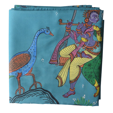 Light Blue Handpainted Patachitra Synthetic Silk fabric painting Saree Made in Odisha Raghurajpur AJODI000574