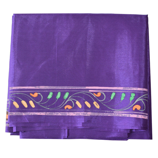 Deep Purple Handpainted Patachitra Synthetic Silk Saree Made in Odisha Raghurajpur  AJODI000575