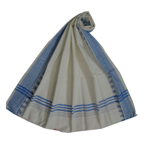 White with Blue  Handloom Cotton Dupatta of Odisha  AJODI000612