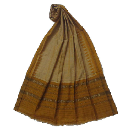 Temple Design Mustard Ikat Handloom Cotton Dupatta of Odisha Nuapatna  AJODI000632