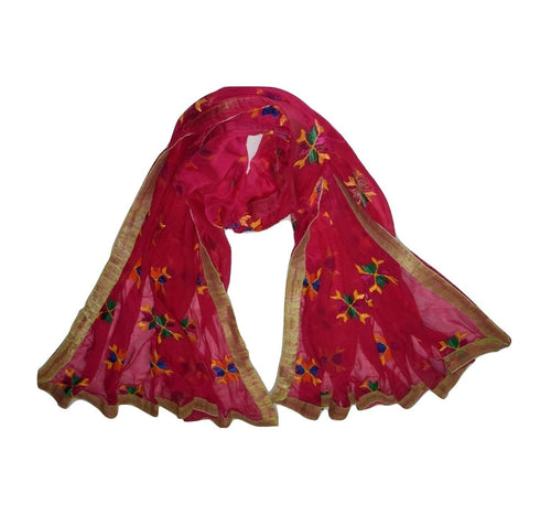 Embroidory Phulkari Design Deep Pink Handloom Cotton Dupatta,Stoles of Punjab  AJODI000633