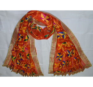 Embroidory Phulkari Design Orange Handloom Chiffon Dupatta of Punjab AJODI000634