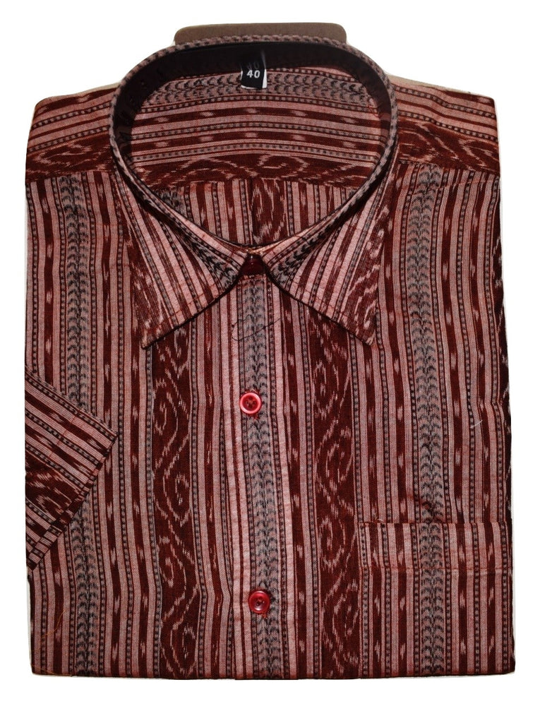 Coffee Brown Ikat Handloom Cotton Shirt of Sambalpur  AJODI000646  (Size-40)