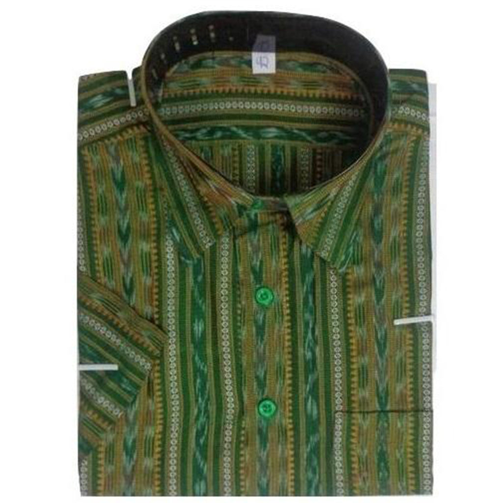 Green Handloom Ikat Casual cotton Half Shirt made in Odisha Sambalpur AJODI000648