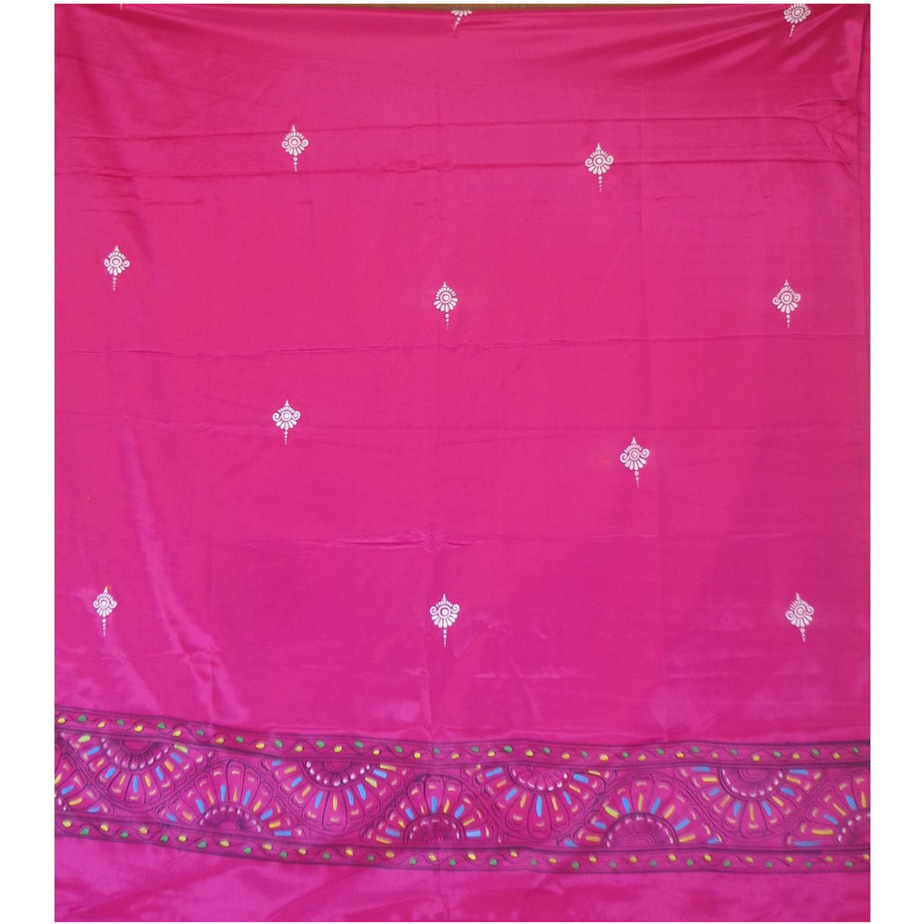 Latest Design Deep Pink Handpainted Patachitra Synthetic Silk Dupatta Made in Odisha Raghurajpur  AJODI000655
