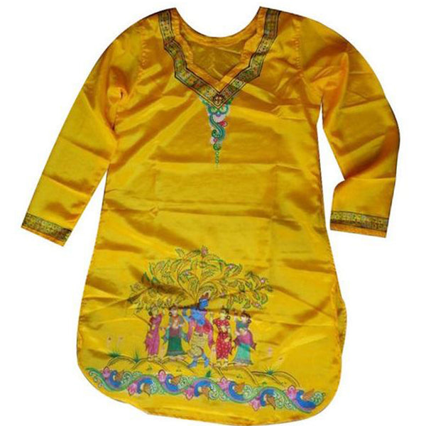 Yellow Handpainted Patachitra Synthetic Silk designer kurti Made in Odisha Raghurajpur  AJODI000661