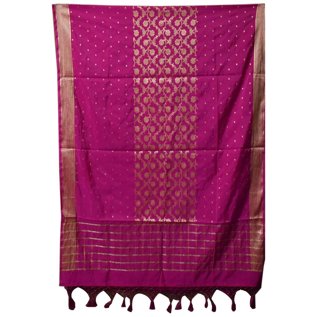 PINK COLOUR BANARASI DESIGN HANDLOOM COTTON SILK DUPATTA OF UTTAR PRADESH AJODI002816