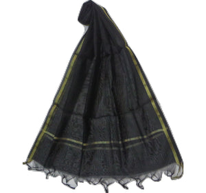 Plain Design Black with Golden Handloom Banarasi Cotton Silk Dupatta of Uttar Pradesh  AJODI000680